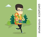 asian backpacker with backpack... | Shutterstock .eps vector #613691405