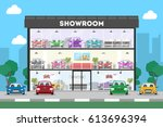 automobile showroom building on ... | Shutterstock .eps vector #613696394
