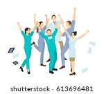 Doctors Jump In Joy. Isolated...