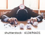 businessman stressed because he ... | Shutterstock . vector #613696631