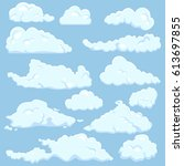 vector set of cartoon cloud on... | Shutterstock .eps vector #613697855