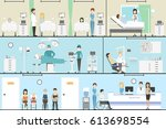 hospital indoors set. operation ... | Shutterstock . vector #613698554