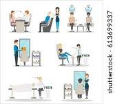 beauty salon set on white... | Shutterstock . vector #613699337