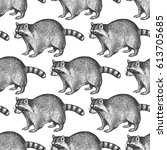 seamless pattern with animals... | Shutterstock .eps vector #613705685