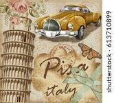 pisa vintage poster.   Shutterstock . vector #613710899