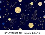 exiting cosmic travel. abstract ... | Shutterstock .eps vector #613712141