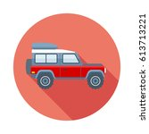 off road car flat icon with... | Shutterstock .eps vector #613713221
