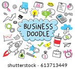 set of business doodle on white ... | Shutterstock .eps vector #613713449