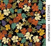 Stock vector hibiscus flower pattern 613715441