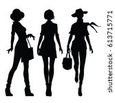 black silhouettes of beautiful... | Shutterstock .eps vector #613715771