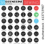 sewing circle white black icon ... | Shutterstock . vector #613715987