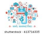 modern flat thin line design... | Shutterstock . vector #613716335