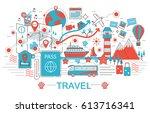 modern flat thin line design... | Shutterstock . vector #613716341