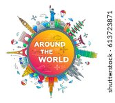 around the world   vector... | Shutterstock .eps vector #613723871