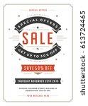 sale flyer or poster design... | Shutterstock .eps vector #613724465