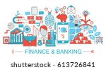 modern flat thin line design... | Shutterstock . vector #613726841