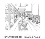 supermarket interior with... | Shutterstock .eps vector #613737119