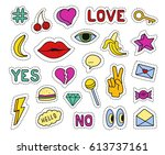 set of fashion patches.... | Shutterstock .eps vector #613737161
