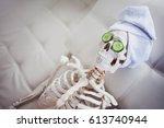 Skeleton In Spa Salon With...