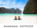 female tourist laying at phi... | Shutterstock . vector #613741229