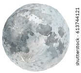 watercolor moon and craters | Shutterstock . vector #613744121