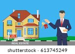 realtor man with key on house . ... | Shutterstock . vector #613745249