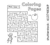 cartoon beetle maze game.... | Shutterstock .eps vector #613748369
