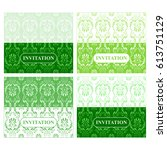 green invitation with vintage... | Shutterstock .eps vector #613751129