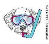 funny dalmatian in a mask for... | Shutterstock .eps vector #613751441