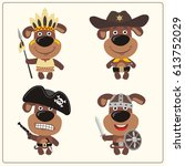 funny puppy dog in costume of... | Shutterstock .eps vector #613752029