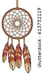 native american indian talisman ... | Shutterstock .eps vector #613752119