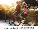 Man And Woman Cyclists Spendin...