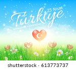 spring theme turkey celebration ... | Shutterstock .eps vector #613773737