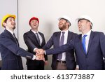 four suit up businessman happy ... | Shutterstock . vector #613773887
