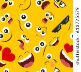 pattern of emoticons set  in a... | Shutterstock .eps vector #613775579