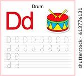 writing a z  alphabet ... | Shutterstock .eps vector #613776131