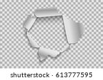 torn paper realistic  hole in... | Shutterstock .eps vector #613777595