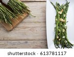 asparagus with almonds | Shutterstock . vector #613781117