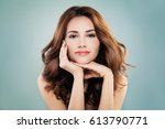 smiling model woman with... | Shutterstock . vector #613790771