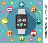 smart watch flat design concept ...   Shutterstock . vector #613791209