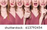 set of young woman with... | Shutterstock . vector #613792454