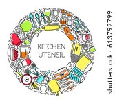 round frame of icons kitchen... | Shutterstock .eps vector #613792799