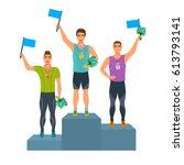 boys stand on podium  awarded...   Shutterstock .eps vector #613793141