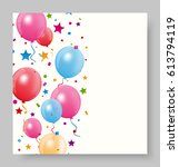 colorful birthday balloon with... | Shutterstock . vector #613794119