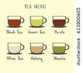 set of tea menu icons.... | Shutterstock .eps vector #613800605