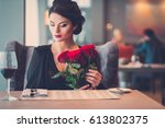 Elegant Lady With Red Roses In...