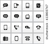 set of 16 editable gadget icons.... | Shutterstock .eps vector #613803767