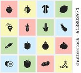 set of 16 editable food icons....   Shutterstock .eps vector #613803971
