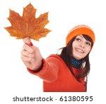 Girl holding autumn orange maple leaf. Autumn sale. - stock photo
