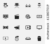 set of 16 editable movie icons. ... | Shutterstock .eps vector #613807019